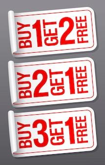 Paghi uno prendi uno gratis due gratis e tre set di adesivi vettoriali di vendita di liquidazione gratis