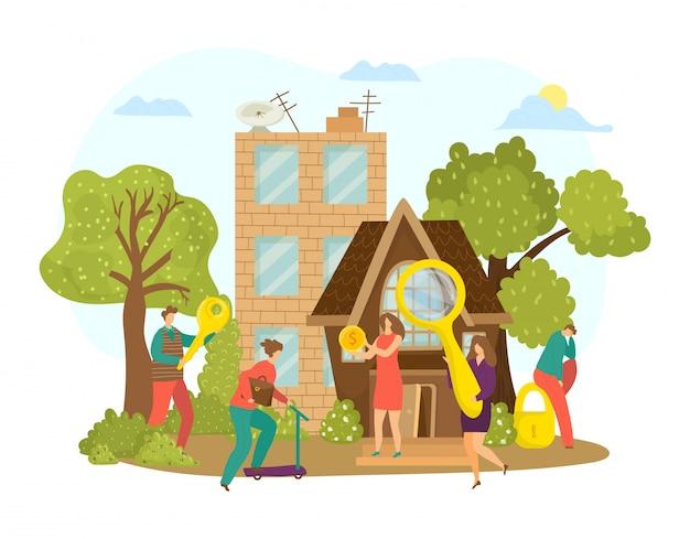 Acquista immobili, cerca illustrazione di proprietà appartamento casa. acquisto di una casa per il concetto di carattere di persone. uomo donna con lente d'ingrandimento cerca investimento nella costruzione.