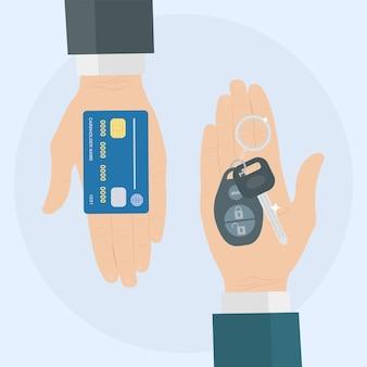 Acquista o noleggia un'auto. la mano umana tiene la chiave automatica e la carta di credito Vettore Premium