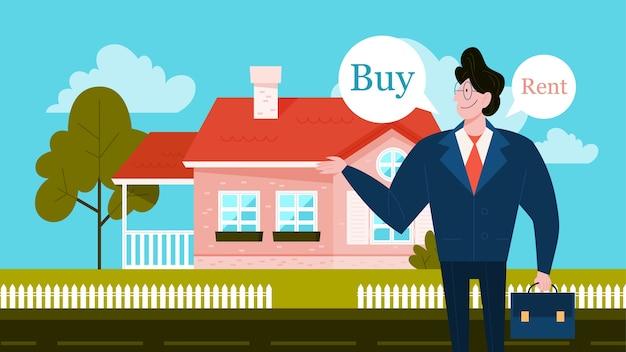 Acquistare o affittare un concetto di casa. idea di immobiliare e decisione difficile. casa d'acquisto. illustrazione