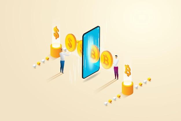 Compra e vendi scambio di criptovaluta online su smartphone tra due uomini d'affari