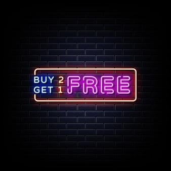 Acquista due prendi uno gratuito insegne al neon stile testo vettoriale
