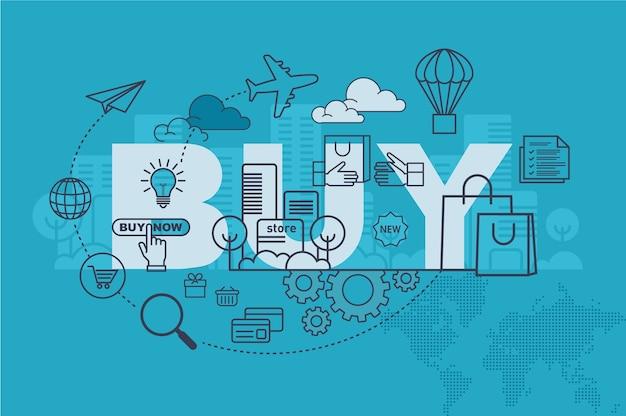 Acquista il concetto di banner sito web con design piatto sottile linea
