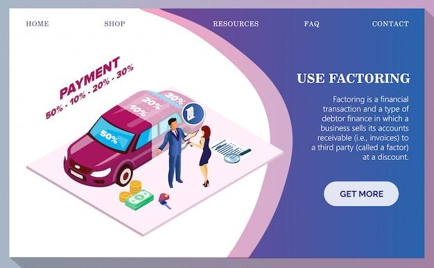 Acquisto di auto, pagamento di automobili da parte di banner.