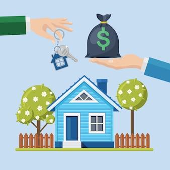 Comprare una casa. immobiliare e casa in vendita concetto. tenere in mano il sacchetto dei soldi e la chiave