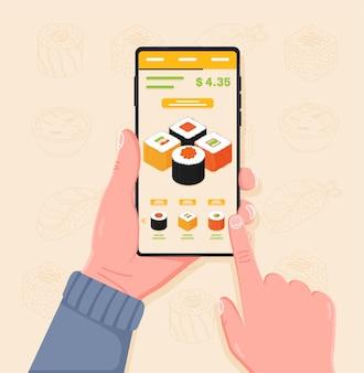Acquistare e pagare sushi nell'applicazione sul cellulare
