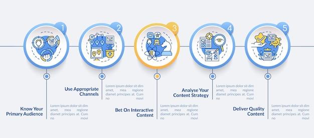 Modello di infografica vettoriale di tecniche di contenuto buzzworthy. elementi di design del profilo di presentazione mirati. visualizzazione dei dati con 5 passaggi. grafico delle informazioni sulla sequenza temporale del processo. layout del flusso di lavoro con icone di linea