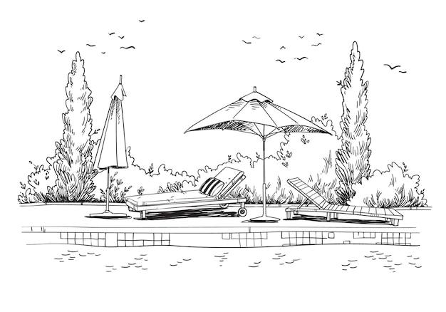 Dalla piscina. schizzo eccentrico in bianco e nero di lettini a bordo piscina