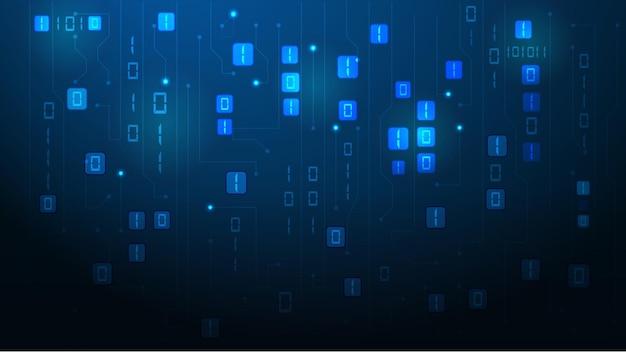 Byte di zeri e unità binarie passano attraverso la rete. eps 10