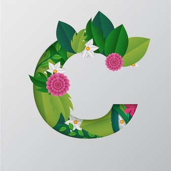 Alfabeto fatto da disegno floreale.