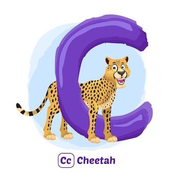 C per ghepardo. stile di disegno dell'illustrazione dell'alfabeto animale per l'istruzione