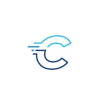 C lettera trattino minuscolo tecnologia digitale veloce consegna rapida movimento linea contorno monolinea logo blu vettore icona illustrazione
