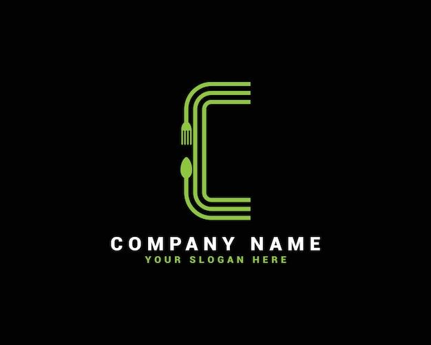 Logo della lettera c, logo della lettera del cibo c, logo della lettera del cucchiaio c