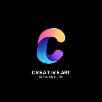Gradiente di design colorato con logo lettera c