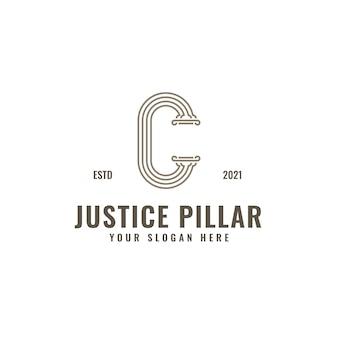 C lettera logo giustizia e studio legale pilastro grassetto linea professionale arte