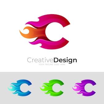 Logo c con illustrazione di progettazione del fuoco, icona del fuoco rosso Vettore Premium
