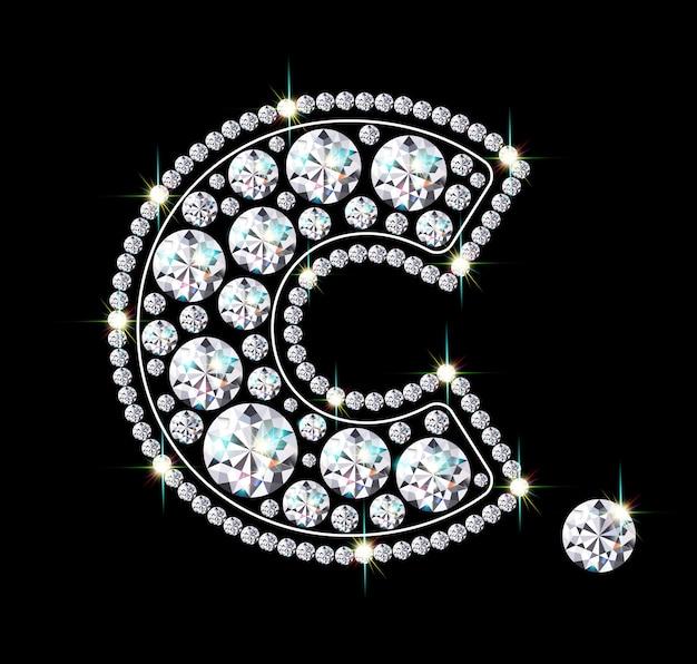 Ciondolo gioiello a forma di c. accessorio scintillante