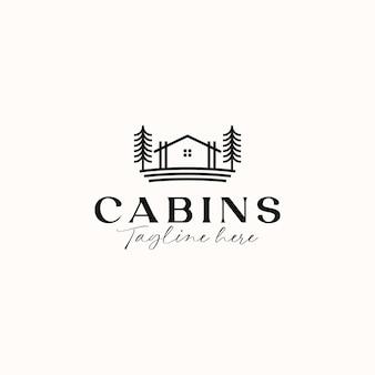 Modello di logo di concetto di cabina monoline isolato in sfondo bianco