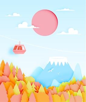 Stile di arte di carta della cabina di funivia con bello paesaggio nel illustratio di vettore del fondo di autunno