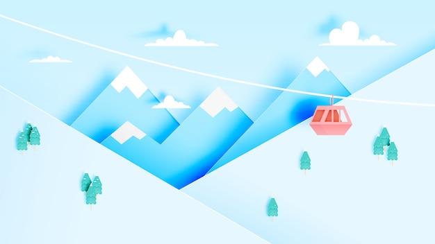 Stile di arte di carta della cabina di funivia con la bella illustrazione di vettore del fondo del paesaggio