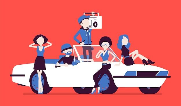 Auto cabriolet con illustrazione di persone