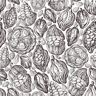 Modello senza cuciture di struttura di fave di cacao. frutta selvatica esotica disegnata a mano