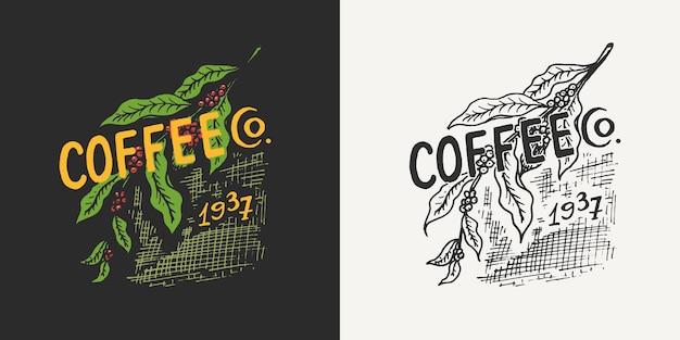 Fagioli di cacao con foglie logo caffetteria ed emblema modelli di badge retrò vintage per magliette