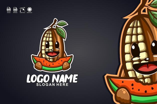 Cacao che mangia anguria simpatica mascotte logo design del personaggio