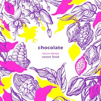 Cornice di cacao modello tropicale, colore giungla. sfondo della natura. schizzo disegnato a mano, art design. cioccolato naturale, bevanda aromatica. raccolta fresca, flora in fiore. carta estiva paradiso