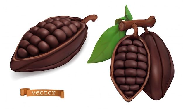 Frutti di cacao. baccelli di cacao. 3d realistico