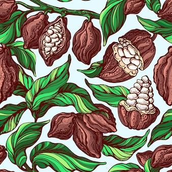 Modello senza cuciture di cacao. ramo botanico disegnato a mano, fagiolo, frutta tropicale, foglia verde