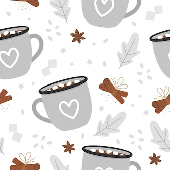 Seamless pattern di cacao. bevanda riscaldante tradizionale invernale con marshmallow e cannella