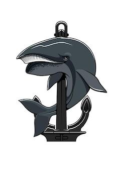 Balena cachalot e scudo di ancoraggio. logo nautico
