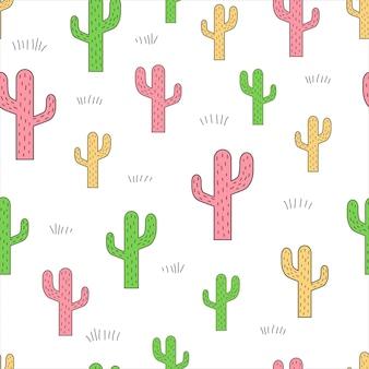 Cactus su sfondo bianco modello vettoriale senza soluzione di continuità