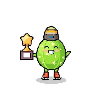 Il fumetto del cactus come un giocatore di pattinaggio sul ghiaccio tiene il trofeo del vincitore, un design carino in stile per maglietta, adesivo, elemento logo