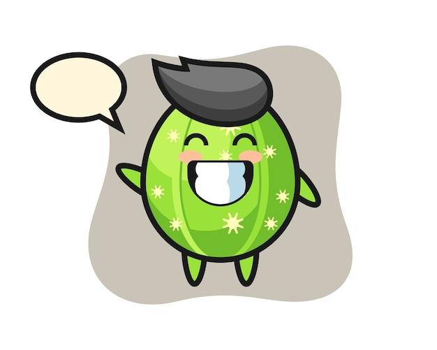 Personaggio dei cartoni animati di cactus che fa gesto di mano dell'onda