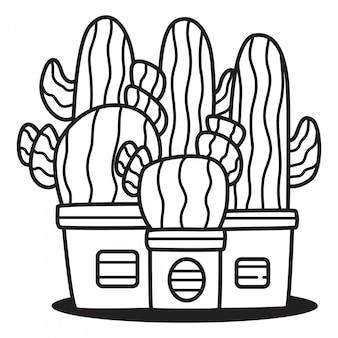 Modello di doodle del fumetto di cactus