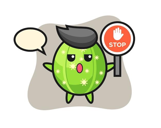 Illustrazione del carattere del cactus che tiene un segnale di stop