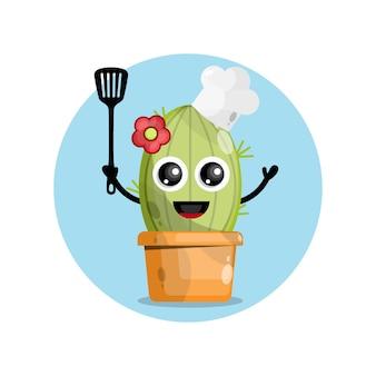 Personaggio mascotte chef cactus