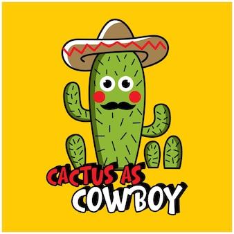 Cactus fresco come un cartone animato divertente da cowboy