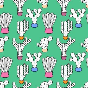 Illustrazione di vettore del modello di scarabocchio del cactus pianta esotica