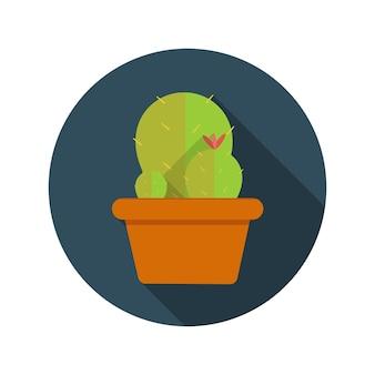 Illustrazione piana di vettore dell'icona di concetto di progettazione del cactus con ombra lunga. eps10
