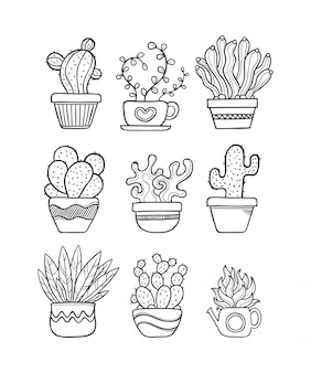 Doodle disegnato a mano di cactus da colorare