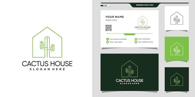 Logo della casa di cactus con stile al tratto e design del biglietto da visita. vettore premium