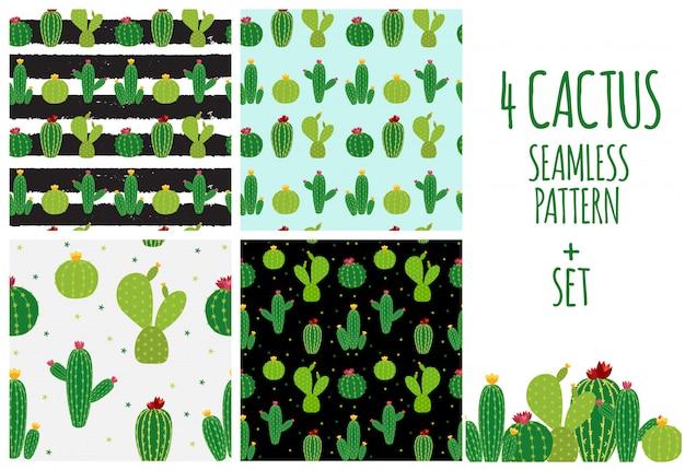 Illustrazione senza cuciture del fondo del modello della raccolta dell'icona del cactus