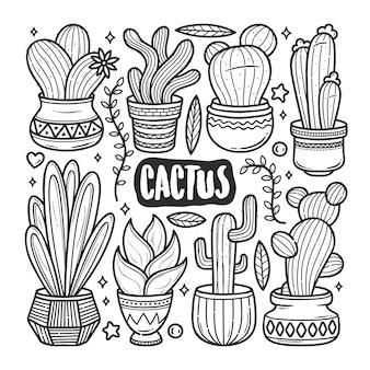 Colorazione disegnata a mano di scarabocchio delle icone del cactus
