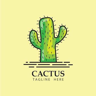 Vettore di disegno del modello di logo del cactus