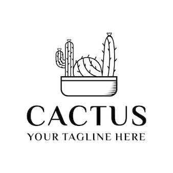 Linea grafica vettoriale logo di cactus