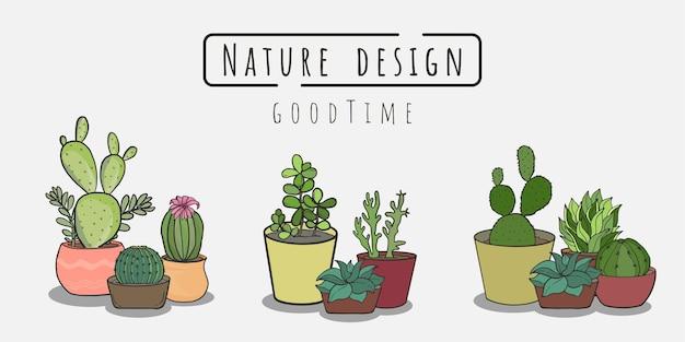 Set di pittura di cactus set di vettore cactus nel piatto