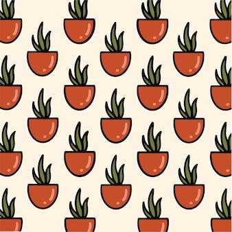 Illustrazione botanica di vettore del fondo del modello del cactus